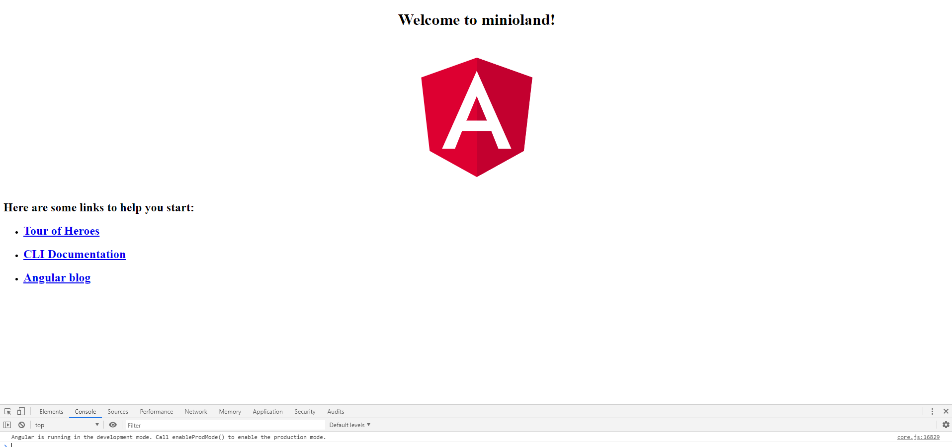 aspecto visual inicial de una app de angular7
