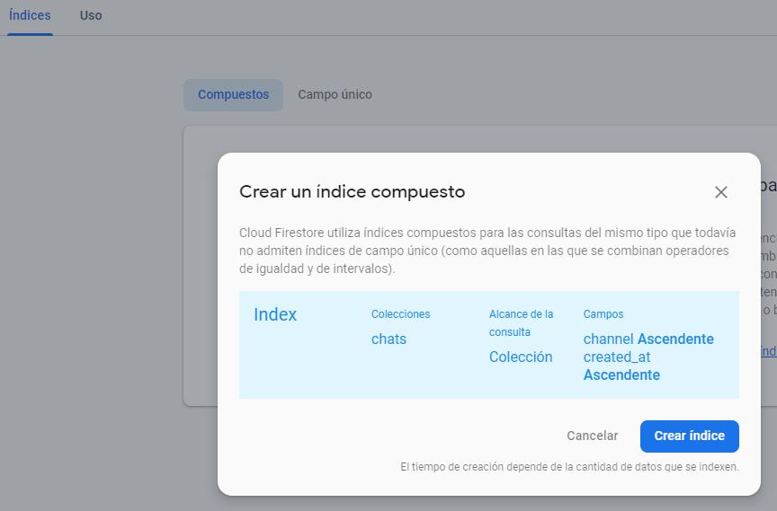 crear indice firebase