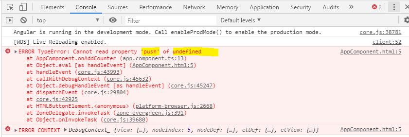 angular error undefined