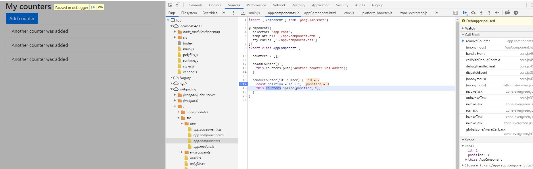 sourcemaps para debugging