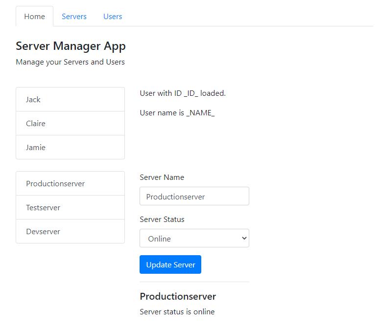 demo app routing - estado inicial